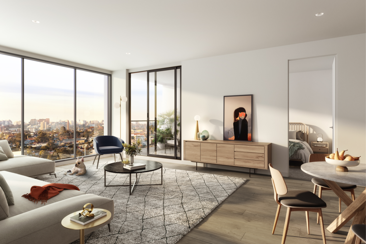 Due North Apartment 2 Bed Living with dog Render