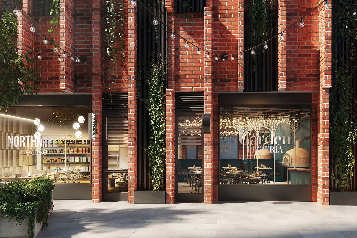 The Malt District Commercial Esplanade Retail and Hospitality with red brick facades - Render