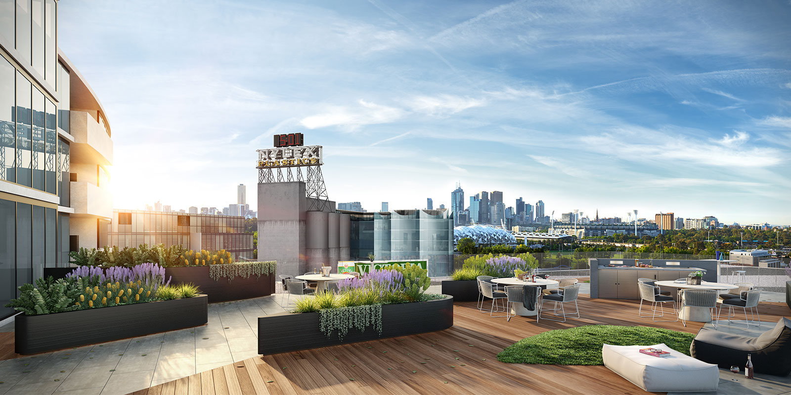 Malt District Coppins Corner Cremorne view from rooftop space