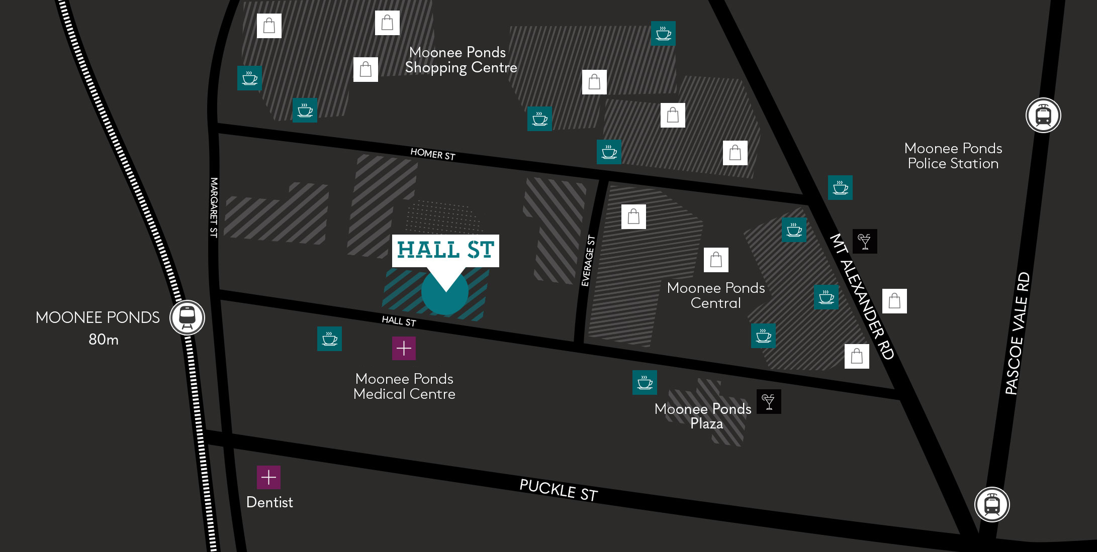 Hall St Moonee Ponds dark map