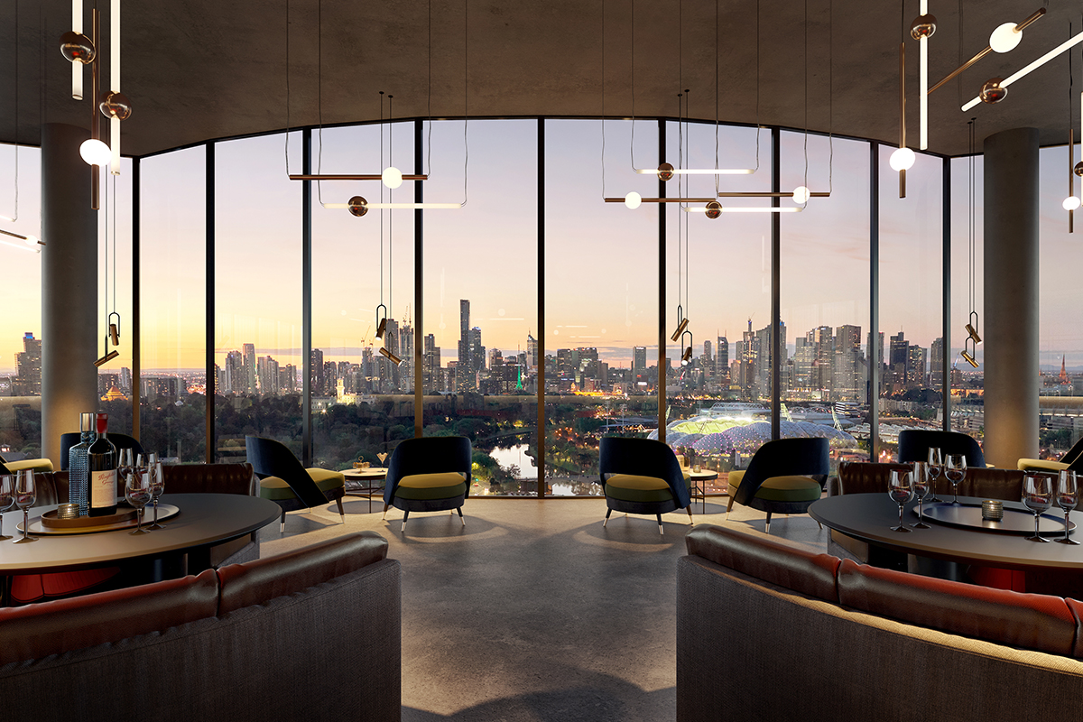 The Malt District Commercial B9 Level 12 Restaurant with sunset views over Melbourne CBD - Render
