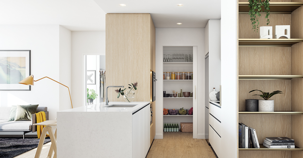 Kitchen Render with Pantry