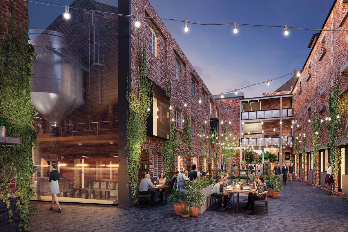 The Malt District Commercial Brewery with people eating and drinking outdoors at dusk with festoon lighting - Render
