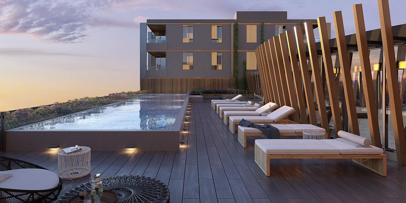 Focus on Mason Moonee Ponds rooftop swimming pool and gym