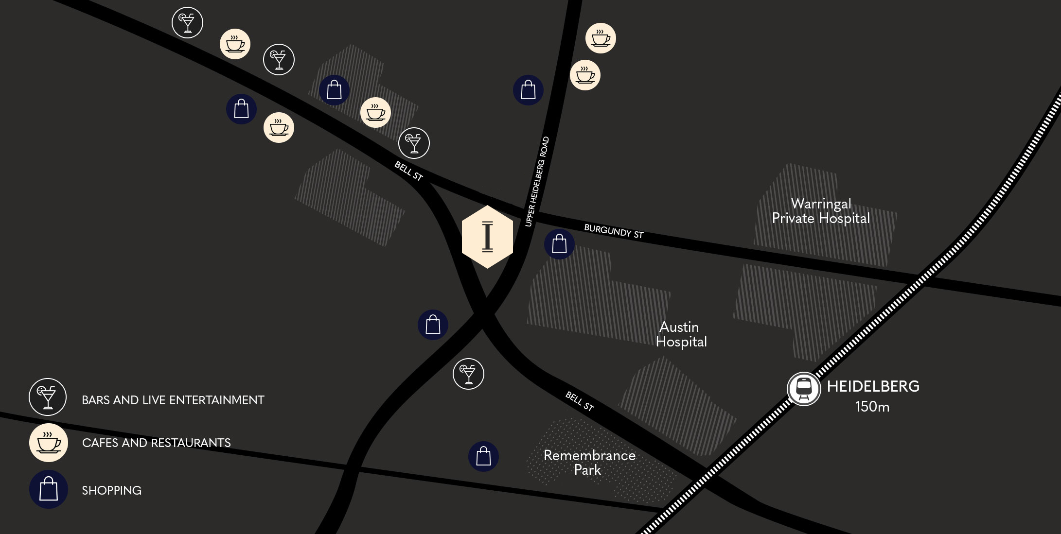 Ivanhoe Apartment dark map