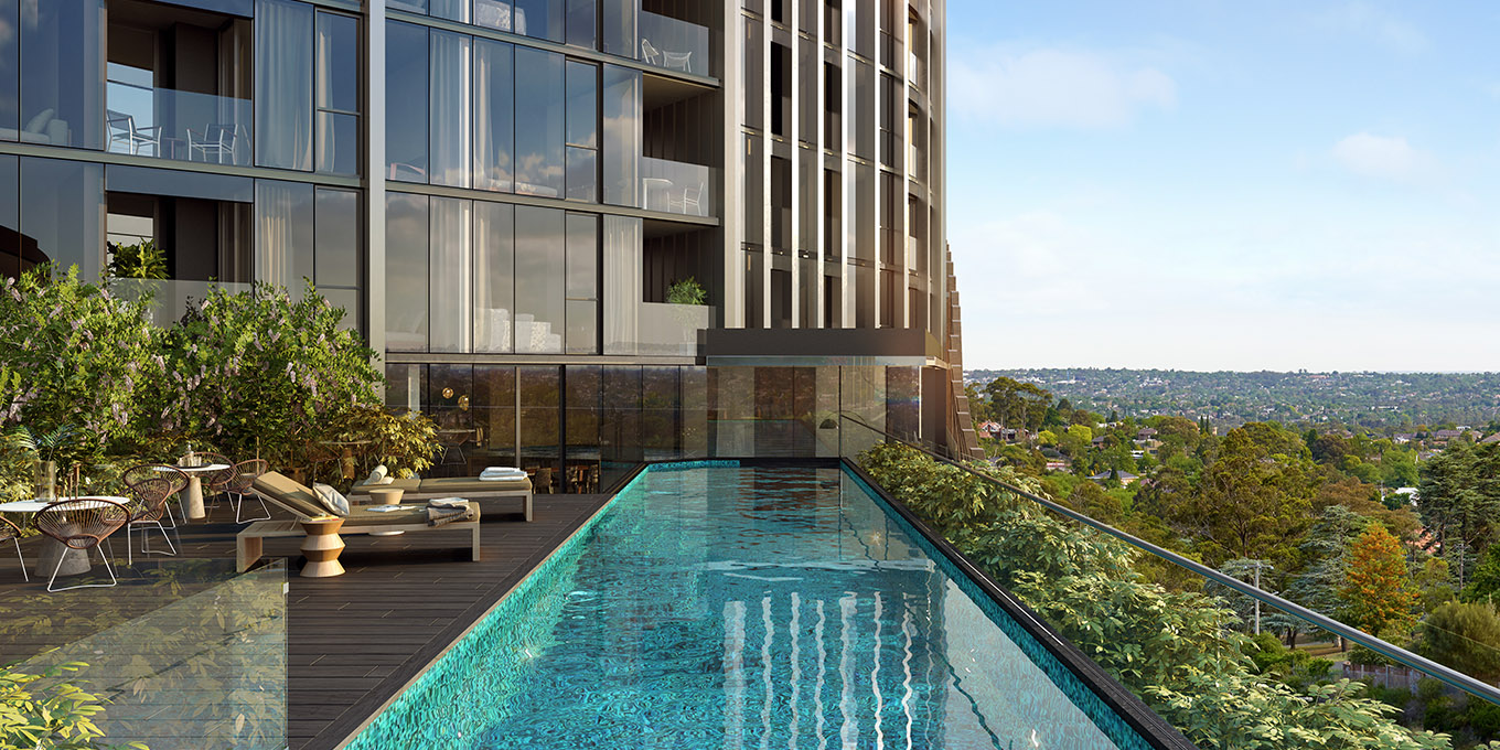 Ivanhoe Apartments swimming pool with city views