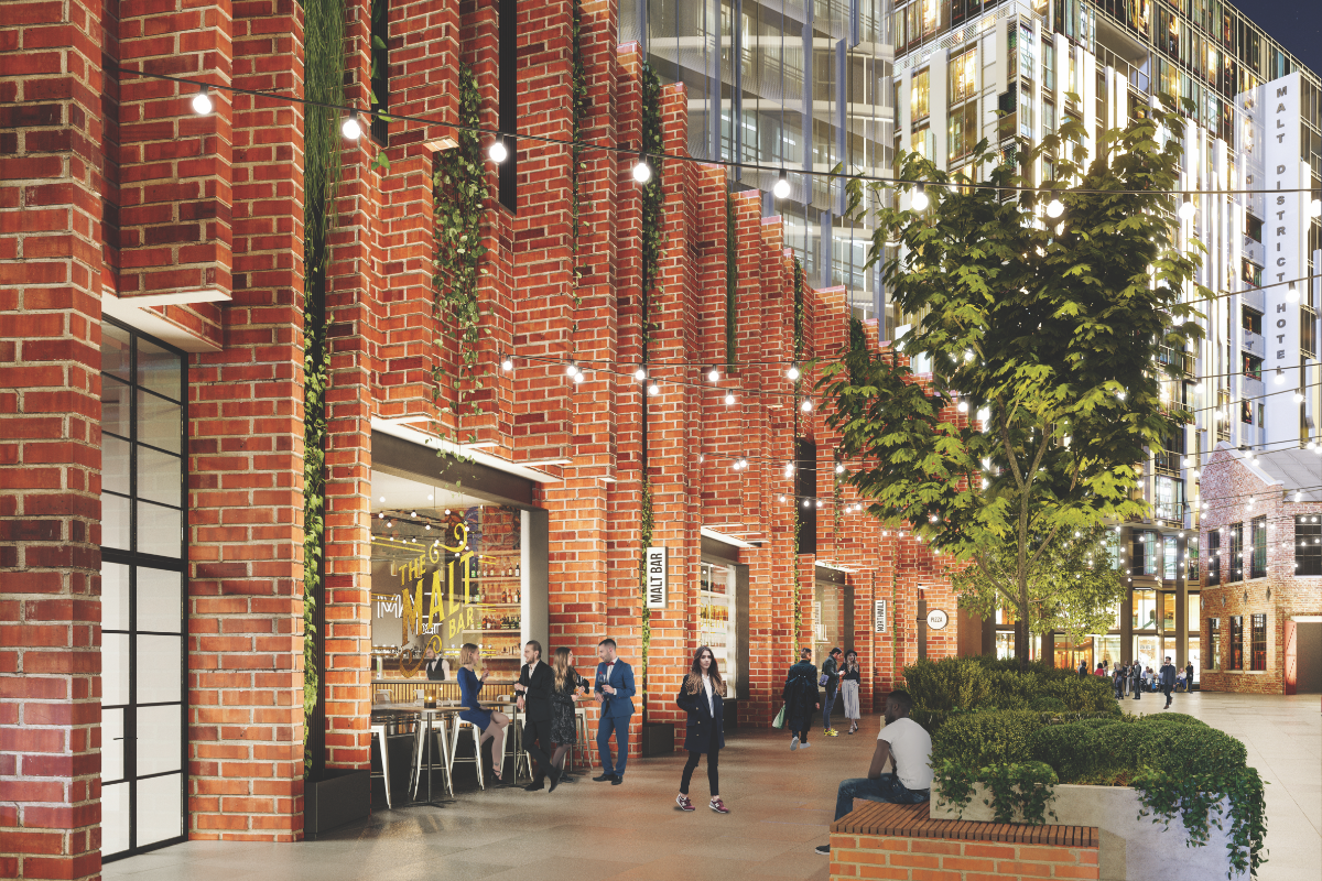 The Malt District with Pedestrian walk way during the evening with people and festoon lighting - Render