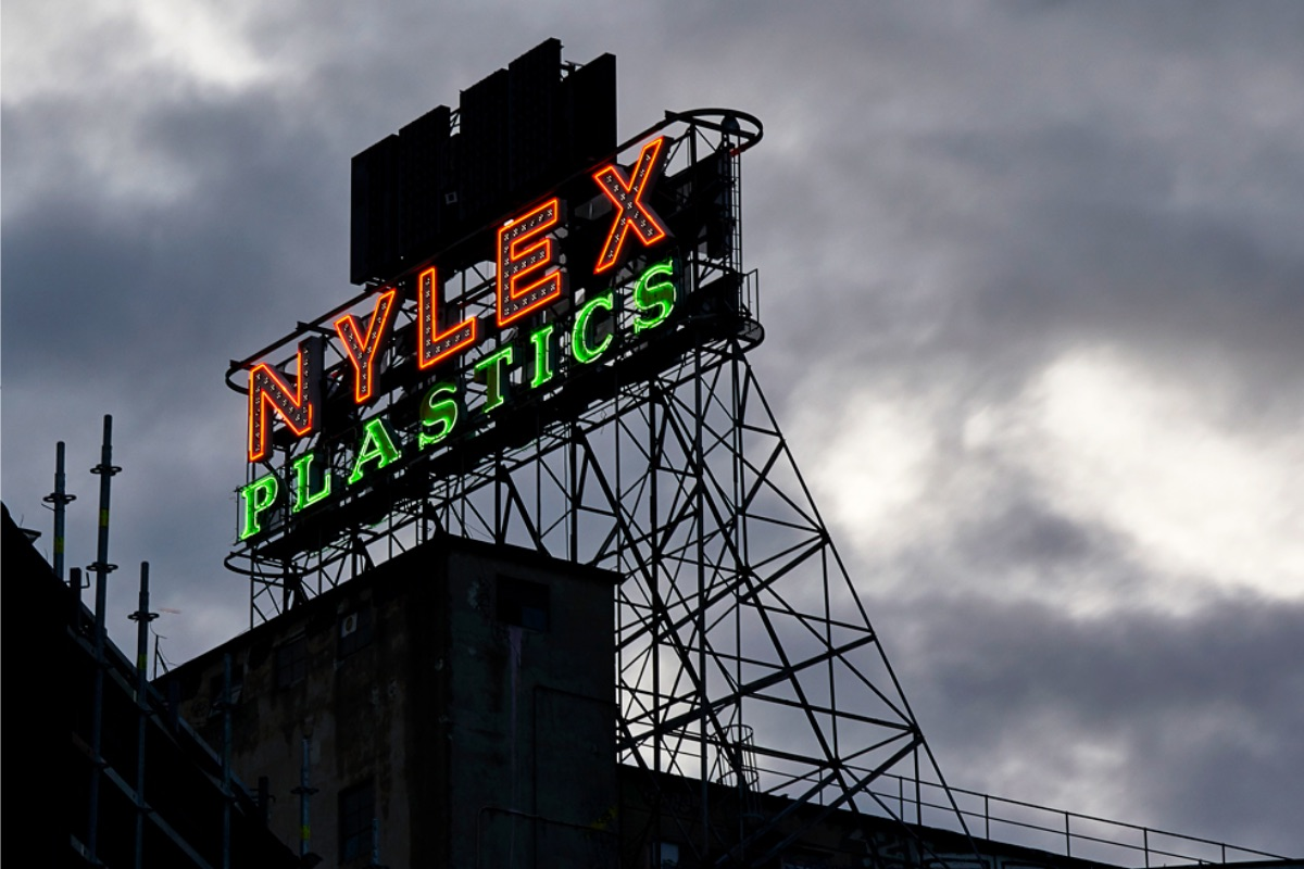 The Nylex Sign illuminated for testing in February 2020