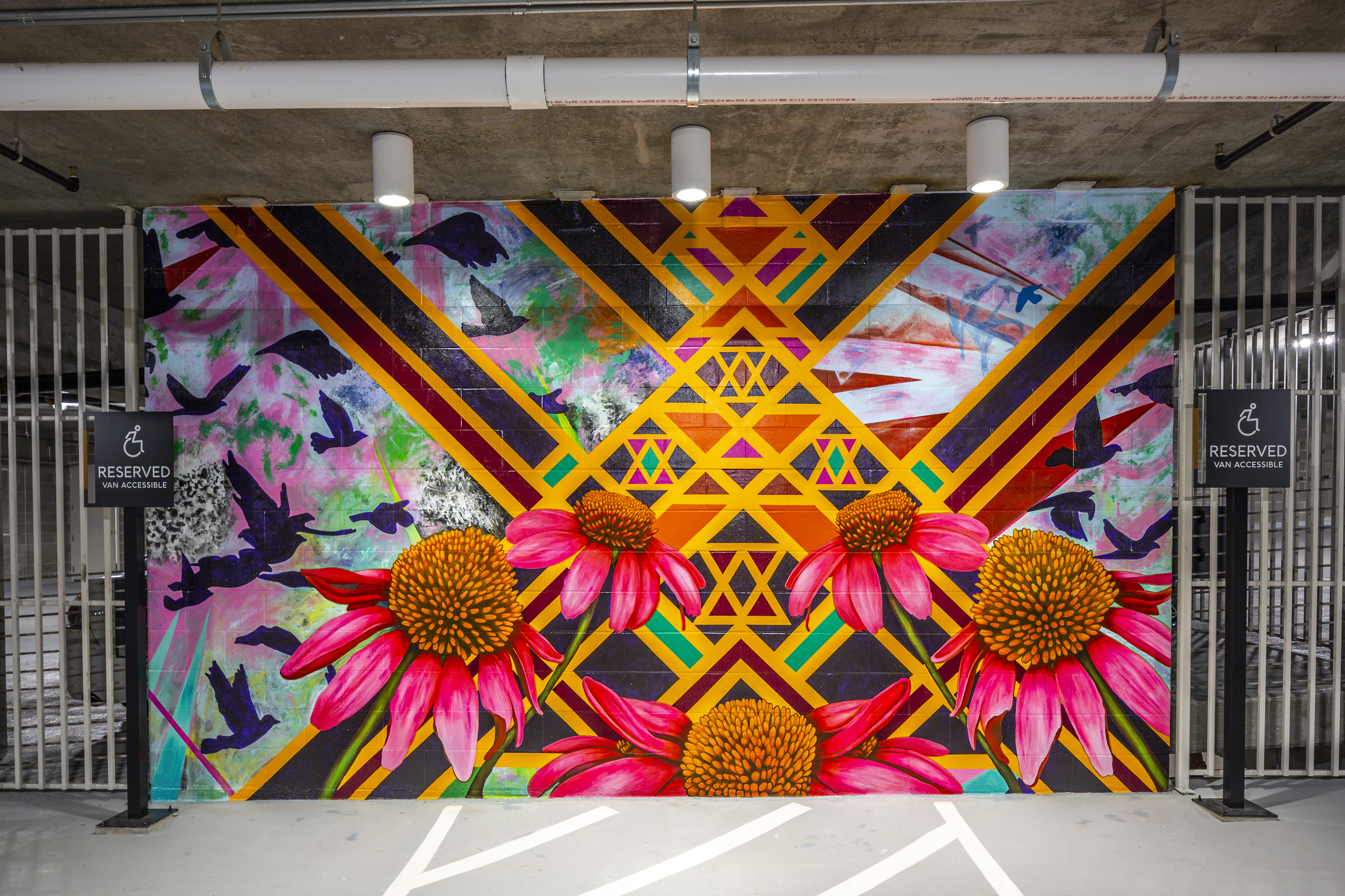 Drewery Place Garage Artwork Flowers by Patricia Barrera